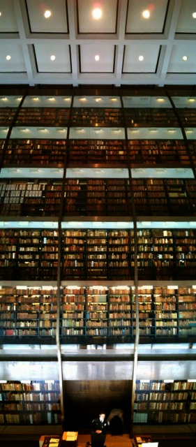 Stacks of Beinecke Library at Yale